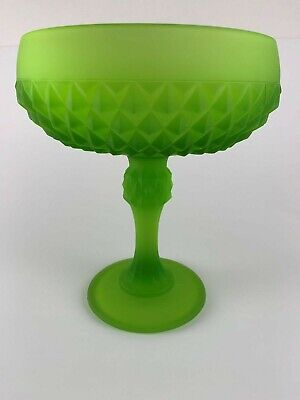 Diamond Point Green Frosted Indiana Glass Compote Candy Nut Dish Diamond Point Candy Dish