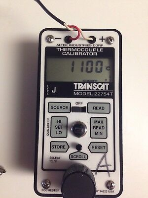 Transcat Altek Model 22754t Thermocouple Calibrator J Process Meter Fluke