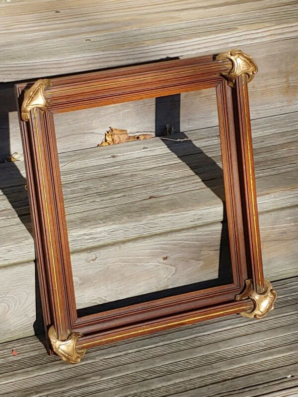 Antique Victorian Batwing Picture Frame Walnut Gold Gilding 19th Cent 11x13