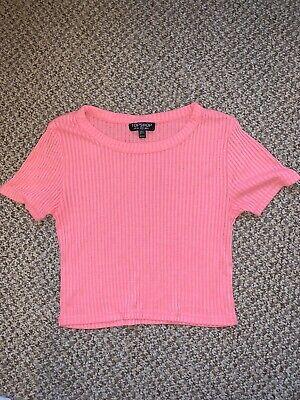 Topshop Pink Tshirt Crop Top Size 8 Holiday Summer Ibiza Festival