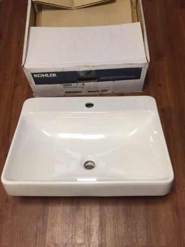 Kohler K-2660-1-0 Vox Rectangle Vessel with Faucet Deck, Whi