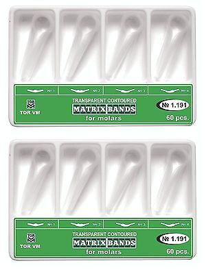 120 Pcs Dental Molar Clear Transparent Contoured Matrices Matrix Bands Tor Vm