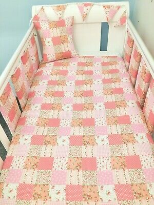 Handmade New Baby Girl Cot Bed Set Quilt Bumpers Bunting Cushion Pink Patchwork for sale  Shipping to South Africa