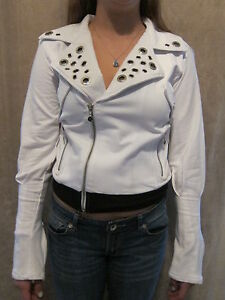 ROCA-WEAR-Cool-Roc-a-Billy-White-Jacket-Coat-MEDIUM-NWT