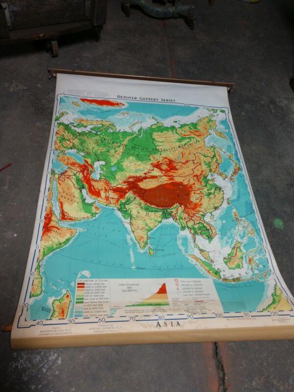 Reclaimed 1961 Pull Down School Map Retractable Asia Denoyer Geppert 43.5 x 63