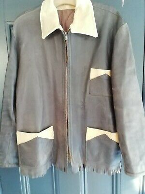 Vintage  Two Tone Fringed Leather Jacket