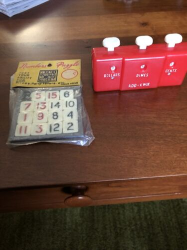 Vintage Slide Numbers Puzzle. Never Opened. And Add Kwik Coin Counter - $10.00