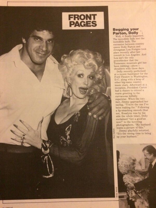 Dolly Parton, Full Page Vintage Clipping, Lou Ferrigno