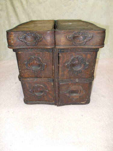 6 Ornate Antique White Treadle Sewing Machine Oak Drawers with Frames
