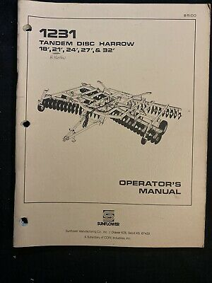 Sunflower Tandem Disc Harrow 18-32 Operators Manual 745