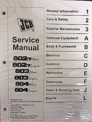 Jcb Service 802.7 803 804 Super Plus Mini Manual Shop