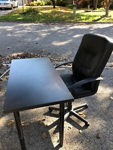 Leather office chair and ikea desk