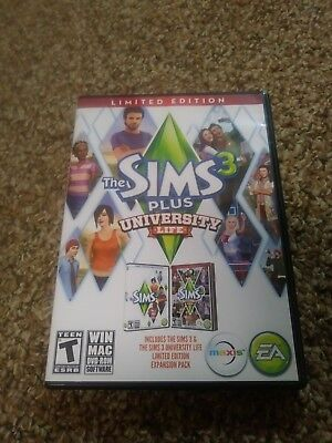 The Sims 3 Plus University Life Limited Edition Pc Game   Complete W  Key Code