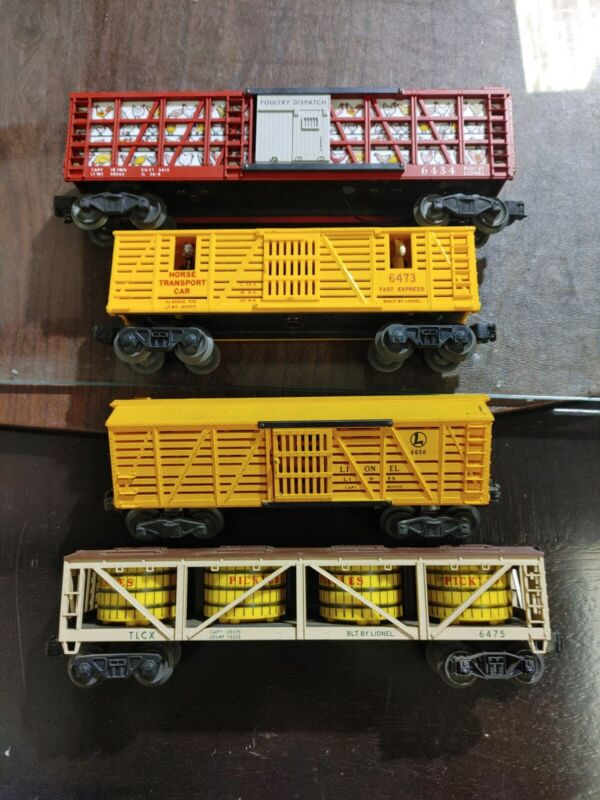 Lionel Live Stock And Produce Box Car Lot 6475,6434,6473,6656