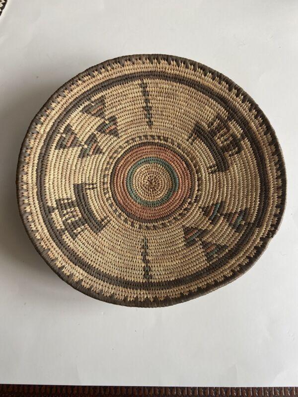 "Vintage Hausa Tribal Woven Basket from Northern Nigeria 14"" Diameter"