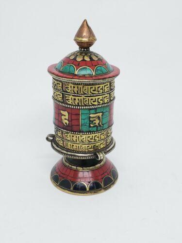 Tibetan Buddhist Handcrafted Spinning Prayer Wheel Table/Desktop Stand ~ TO-125M