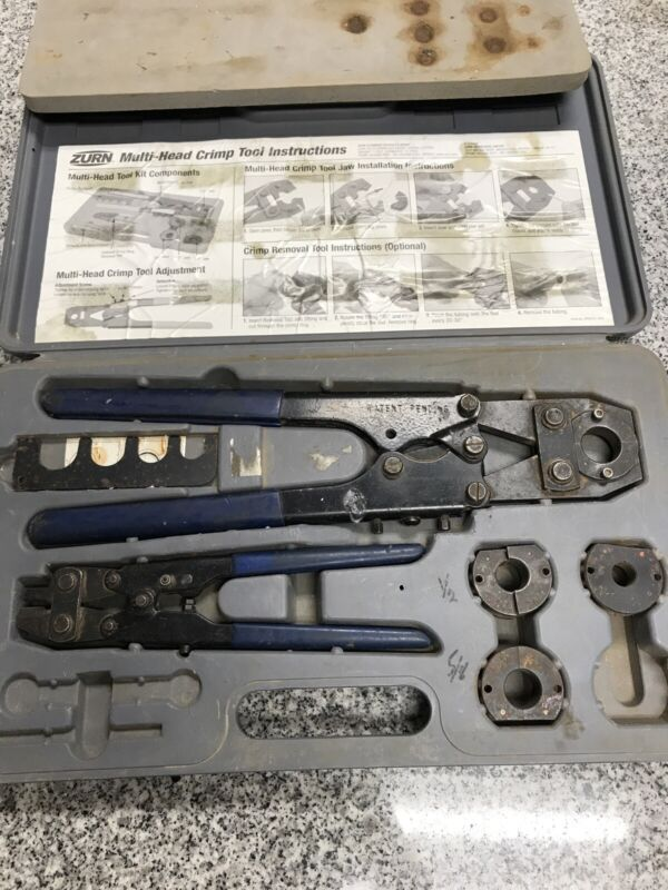 Zurn QCRTMH Multi-Head Crimp Tool Set Crimp tool Removal Tool with case a-x