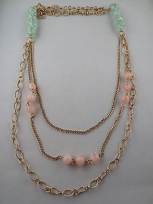 Goldtone Mint-Green Crackle/Marbled Pink Plastic Bead Chain Tiered Necklace