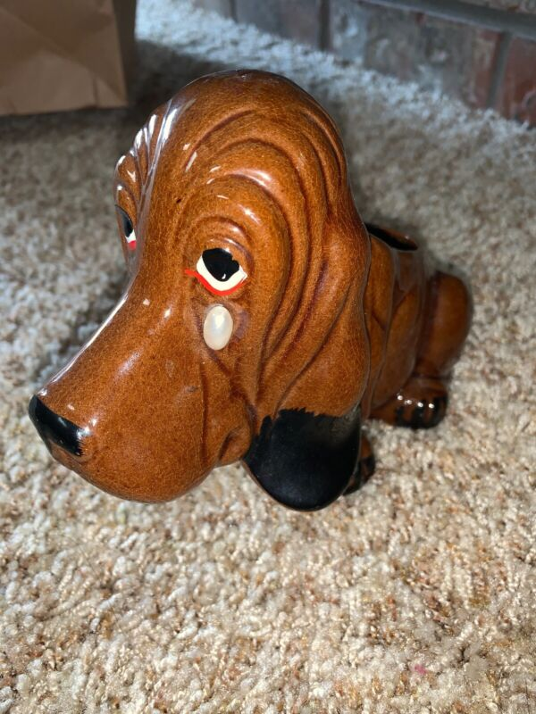 Vtg Enesco Brown Basset Hound Dog Sad Crying Planter Duke Beverly HIllbillies