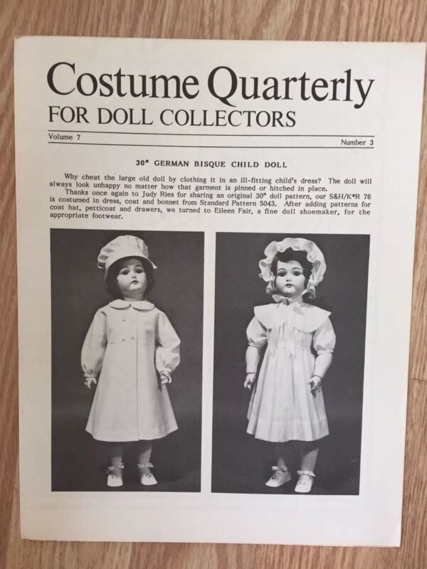 "Costume Quarterly, 30"" GERMAN BISQUE CHILD DOLL Pattern & Booklet, 1984"
