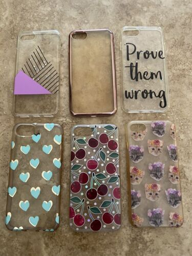 Iphone 7 Case Lot Of 6 Themed Set Clear Cat Cherry Heart - $0.99