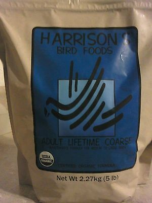 5 lb BAG Bird Food Pellets HARRISONS Adult Lifetime COARSE Organic Amazon Macaw