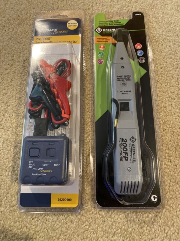 Fluke Networks PRO3000 Tone Generator And Greenlee 200FP Filter Probe *NEW*