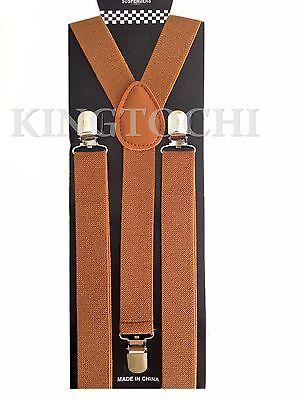 Mens Women Brown Clip-on Suspenders Elastic Y-Shape Adjustable Braces