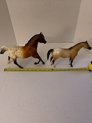 Lot Of 2 Vintage Breyer Brown and White Spotted Horse 1 Large, 1 Small