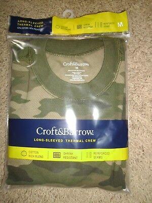 Camo Thermal Underwear Top - Croft Barrow Men Thermal Underwear Top Shirt Sz M Green Camo Crew Neck NIP