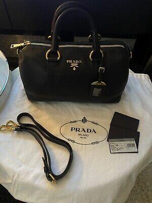Authentic Prada Black Pebbled Leather Handbag with Shoulder Strap/Dust Bag New