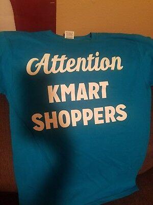 Attention Kmart Shoppers Employee T Shirt Small  Blue Euc