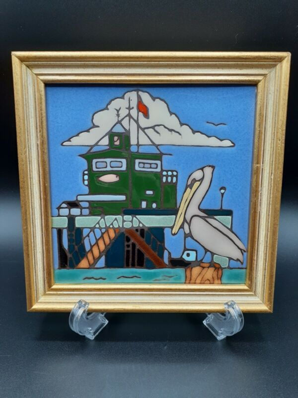 """Vintage Framed Elany Tile Of Pelican at the Rig,  7"""" Framed"""
