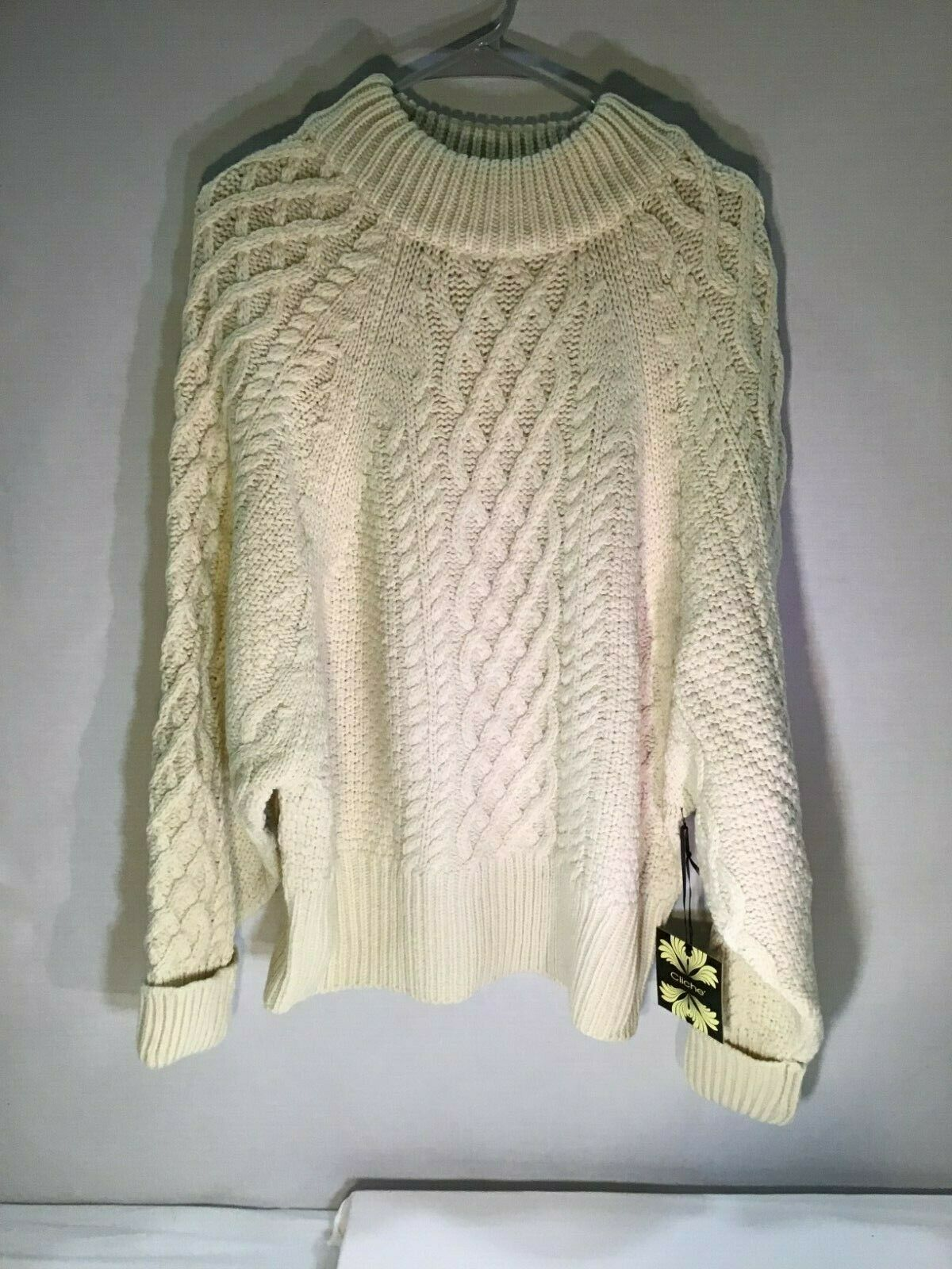 Women's Cable Pullover Sweater, Ivory – Cliché – Size XL Clothing, Shoes & Accessories