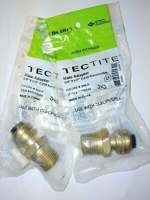 Lot Of 2 Tectite Sharkbite Style Push Fit 38 X 12 Mpt Male Adapter Brass