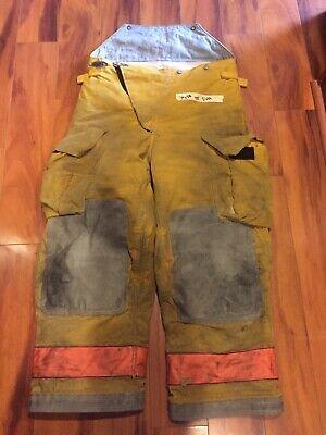 Firefighter Turnout Bunker Pants Globe 36x28 Orange Trim 2000 Costume