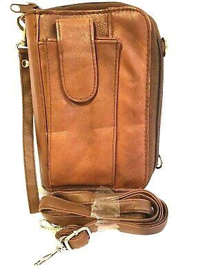 Organizer Binder Messenger Leather Brown Shoulder Or Wristlet Vintage Euc