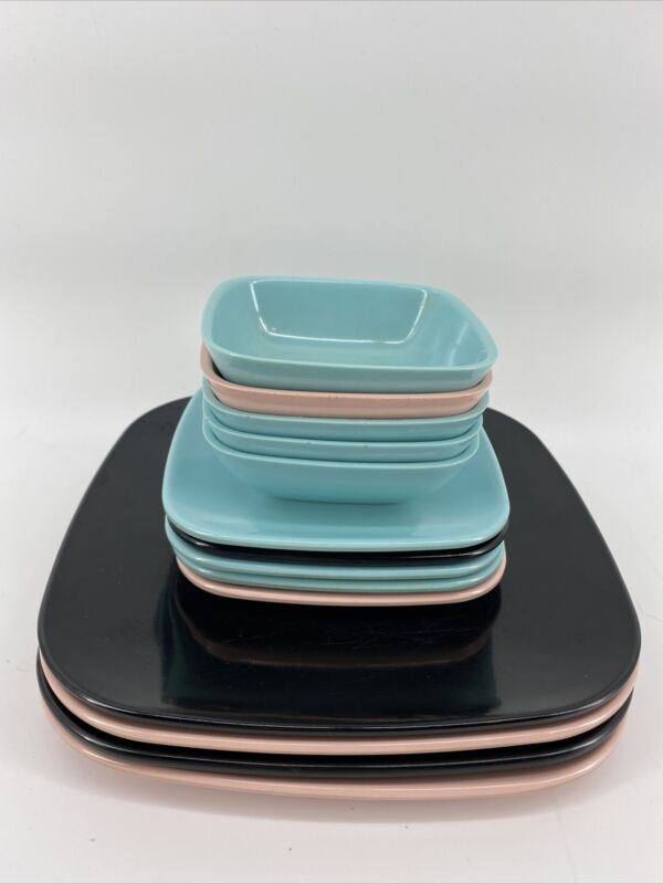 RETRO MCM BrookPark Design Melamine MELMAC  Dish Set PINK BLACK AQUA 14 Pieces