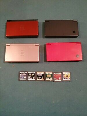 Lot Of 4 Nintendo DS Lite & DSI Consoles • All Power On & work. 6 games.