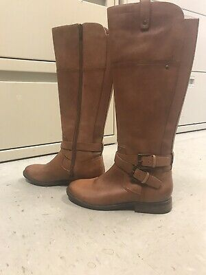 Marc Fisher Brown Leather Strap Detail Audrey Riding Boots 6M -