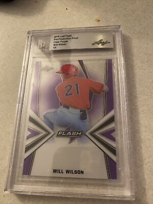 Will Wilson 1/1 Leaf Flash Pre-Production Clear Purple Giants