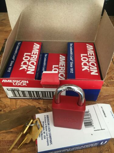 American Lock A1105RED Red Lockout Padlock - Keyed Diff - 1 box of 6 padlocks.