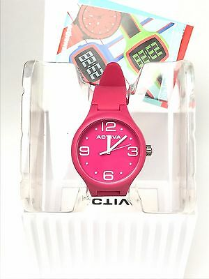 Activa by Invicta Unisex AA101-003 Hot Pink Dial Polyurethane Watch - NO BATT