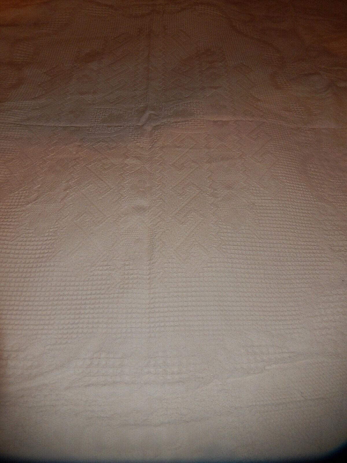 Ancien couvre lit dessus canapÉ coton blanc  franges dÉcoration vintage linge