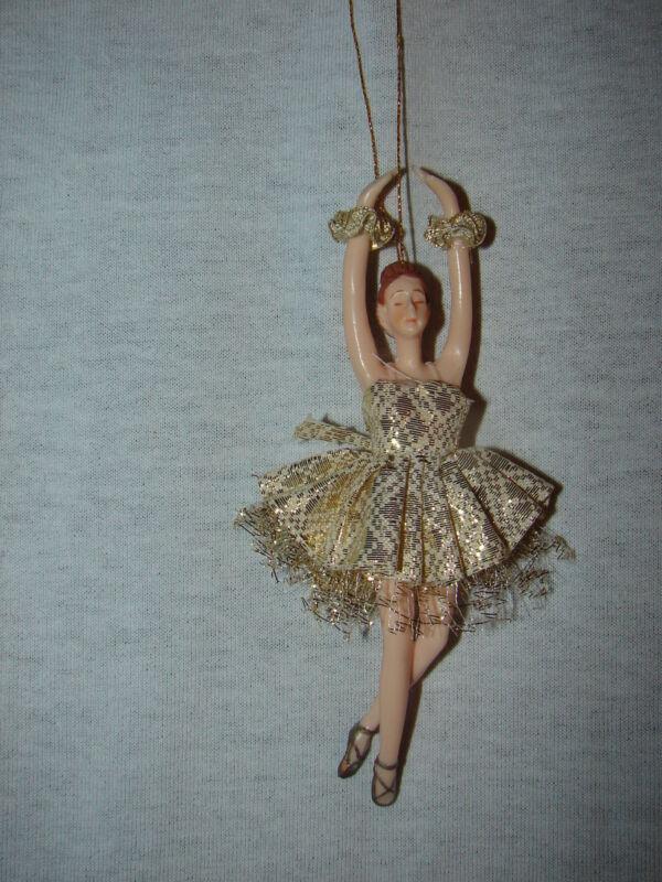 Ballerina Gold  Dress Doll Christmas Ornament