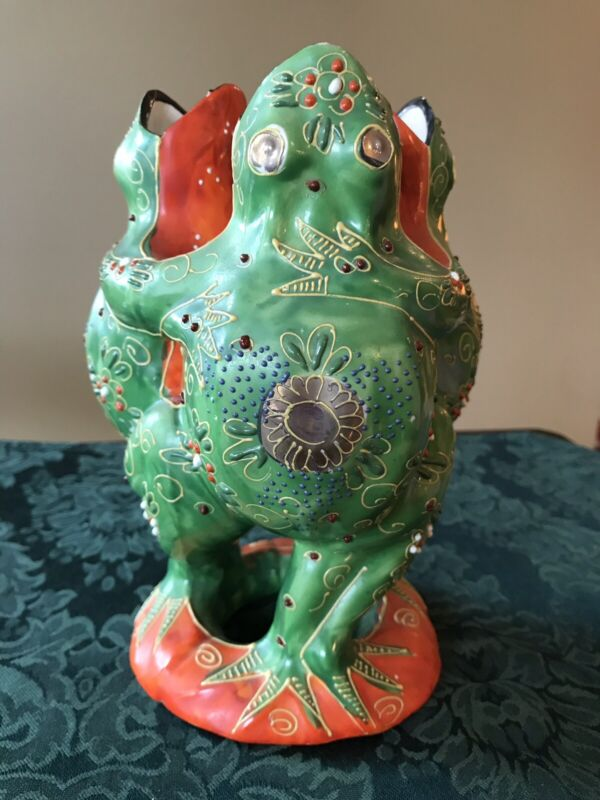 """Dancing Frogs Vase,three singing. 7 1/2"""" tall, base is 4"""" across."""