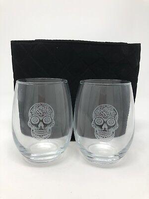 "Rolf Glass Sugar Skull Stemless Wine Glass 14 oz. Set of Two. 4.25"" Tall - Sugar Skull Wine Glass"