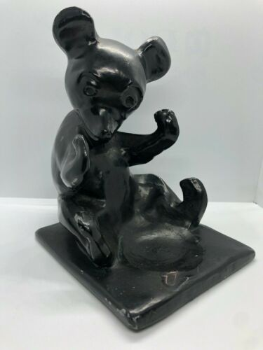 FRANKART Honey Bear Cub Ashtray Holder Metal Sculpture ART DECO