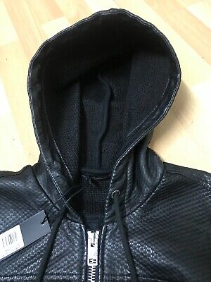 NWT Mens Diesel HOODY GIUBBINI SHEEPSKIN Leather Jacket Black M P2P21.5 L24