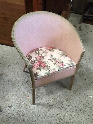 ORIGINAL Pink Roses  Vintage Loom Weave Chair Lloyd COMMODE NO Potty 20/8/V